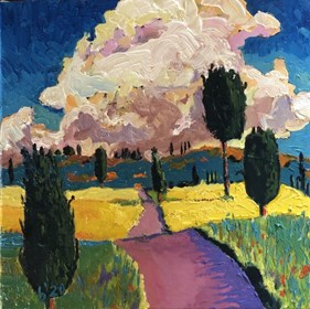 Living room painting by David Schab titled Clouds over Tuscany