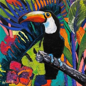 Living room painting by David Schab titled Tucan