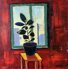Living room painting by David Schab titled Ficus in the window