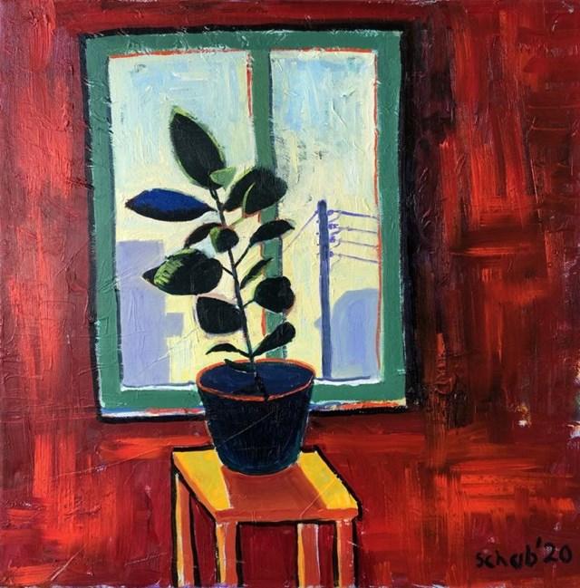Obraz do salonu artysty David Schab pod tytułem Fikus w oknie
