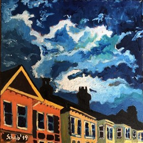 Living room painting by David Schab titled Night clouds
