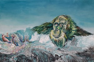 Living room painting by Katarzyna Kałdowska titled  Green orangutan and three tails of rainbow trout