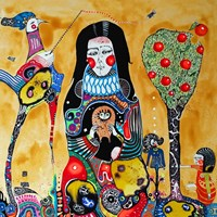 Obraz do salonu artysty Natalia Pastuszenko pod tytułem Portret kobiety z sową