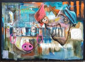 Living room painting by Wojciech Brewka titled I♥️U