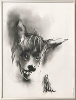 Living room painting by Bożena Wahl titled Dog Portrait 5