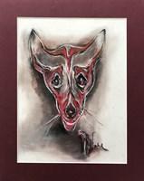 Obraz do salonu artysty Bożena Wahl pod tytułem Czerwony portret psa