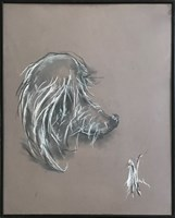 Living room painting by Bożena Wahl titled Portrait of a dog -without a title III