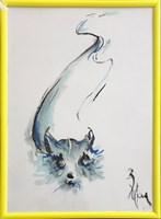 Obraz do salonu artysty Bożena Wahl pod tytułem Kotek - Bez tytułu 4