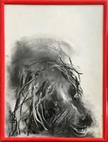 Obraz do salonu artysty Bożena Wahl pod tytułem Portret psa, bez tytułu 1