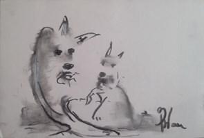 """Obraz do salonu artysty Bożena Wahl pod tytułem Bez tytułu 8 - z cyklu """"Zwierzęta"""""""