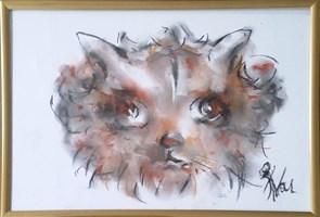 Obraz do salonu artysty Bożena Wahl pod tytułem Portret kotka - z cyklu portrety zwierząt 041