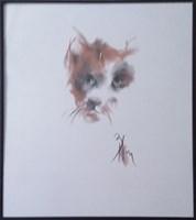 Obraz do salonu artysty Bożena Wahl pod tytułem Portret kotka - z cyklu portrety zwierząt 047