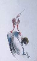 Obraz do salonu artysty Bożena Wahl pod tytułem Kompozycja - z cyklu portrety klauna 058