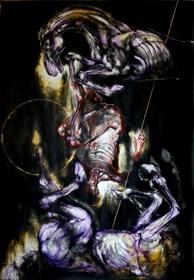 Obraz do salonu artysty Wojciech Pelc pod tytułem Pojedynek, akryl na papierze