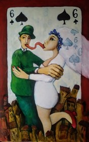 Living room painting by Miro Biały titled Wedding kiss