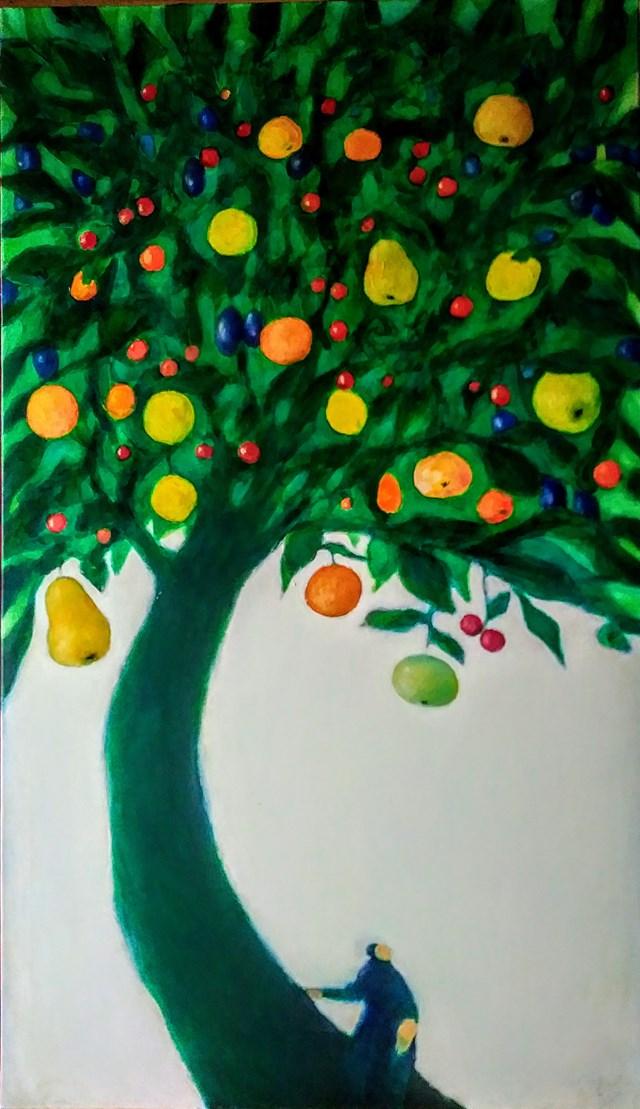 Obraz do salonu artysty Miro Biały pod tytułem Moje drzewo wieloowocowe