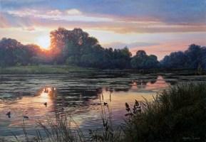 Obraz do salonu artysty Zbigniew Kopania pod tytułem Zachód słońca nad rzeką