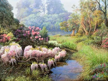 Obraz do salonu artysty Zbigniew Kopania pod tytułem Glicynia i róze