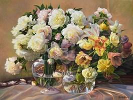 Obraz do salonu artysty Zbigniew Kopania pod tytułem Martwa natura z peoniami i tulipanami
