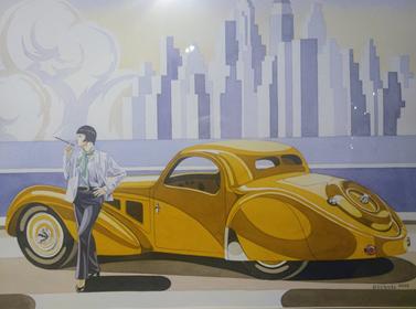 Obraz do salonu artysty Tomasz Kostecki pod tytułem Żółte Bugatti