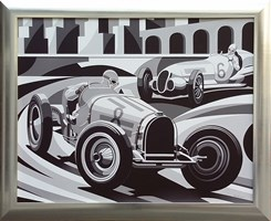 Living room painting by Tomasz Kostecki titled Grand Prix