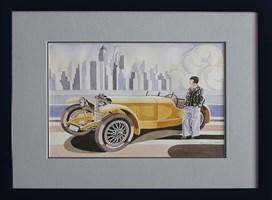 Obraz do salonu artysty Tomasz Kostecki pod tytułem Żółty mercedes
