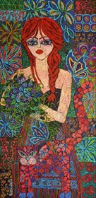 Living room painting by Rozalia Wójcik titled  Redhead with a braid