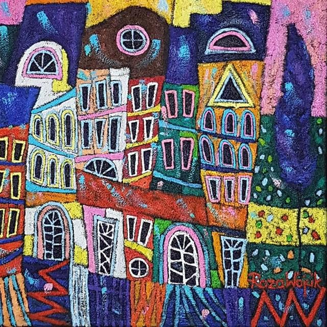 Obraz do salonu artysty Rozalia Wójcik pod tytułem Szczęśliwe miasteczko
