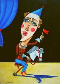 Obraz do salonu artysty Lili Fijałkowska pod tytułem Klaun na koniku