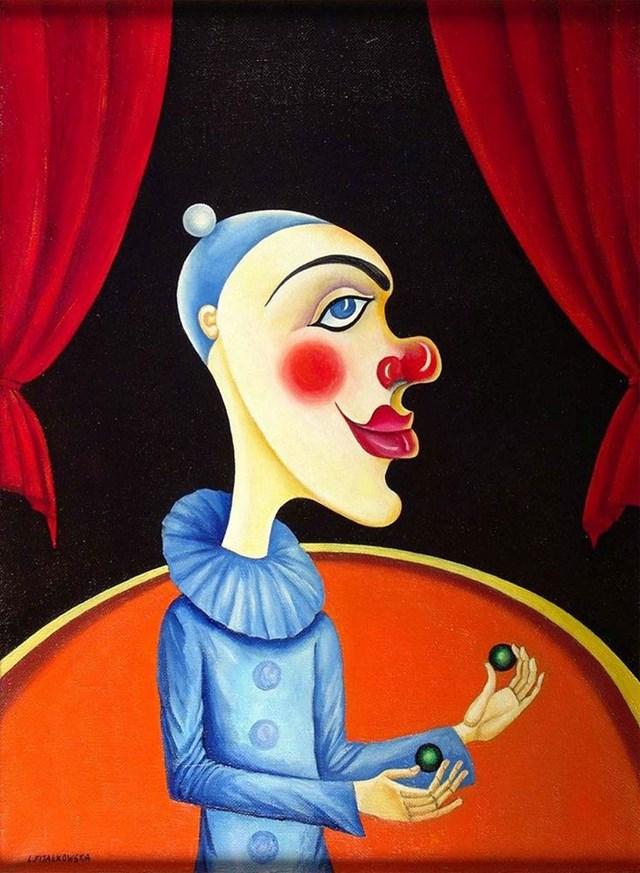 Obraz do salonu artysty Lili Fijałkowska pod tytułem Klaun z zielonymi kulkami