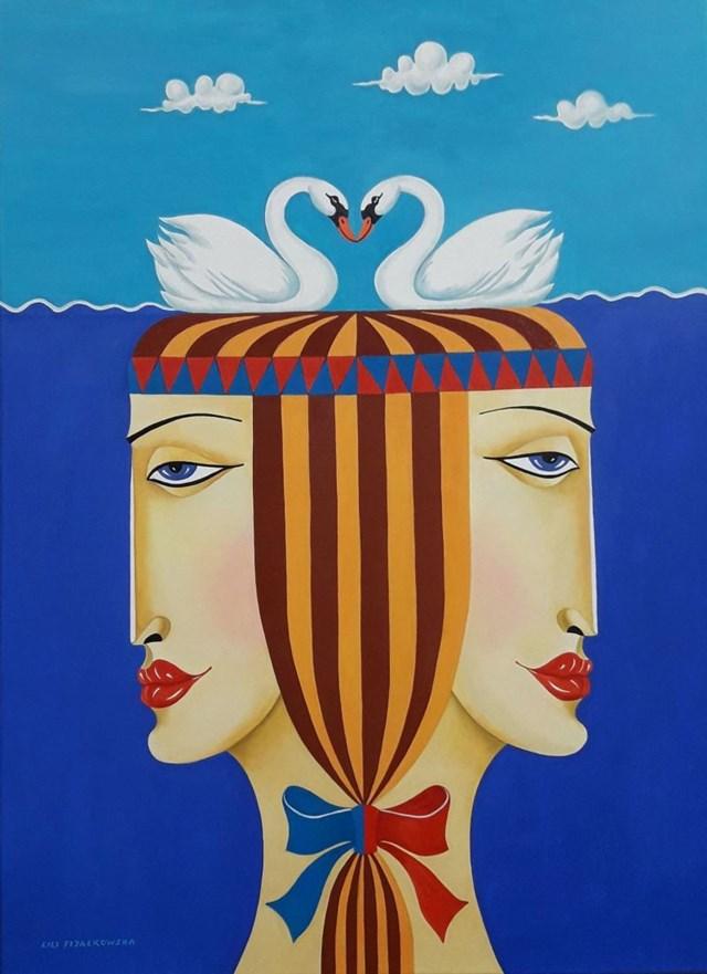 Obraz do salonu artysty Lili Fijałkowska pod tytułem Bliźniaczki nad stawem