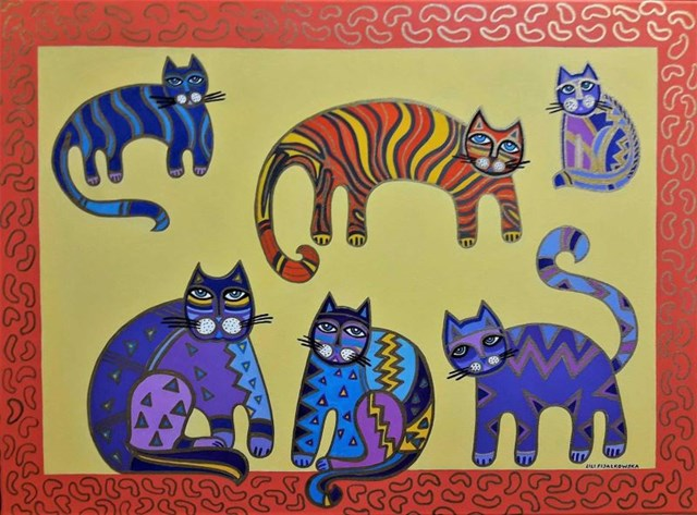 Living room painting by Lili Fijałkowska titled Family of Cats
