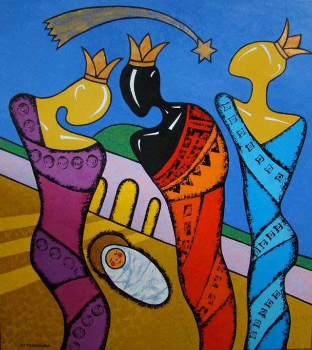 Obraz do salonu artysty Lili Fijałkowska pod tytułem Trzej Królowie