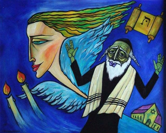Obraz do salonu artysty Lili Fijałkowska pod tytułem Rabin i anioł