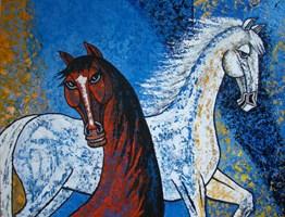 Obraz do salonu artysty Lili Fijałkowska pod tytułem Konie II