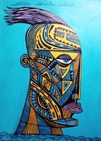 Obraz do salonu artysty Lili Fijałkowska pod tytułem Polinezyjski wojownik