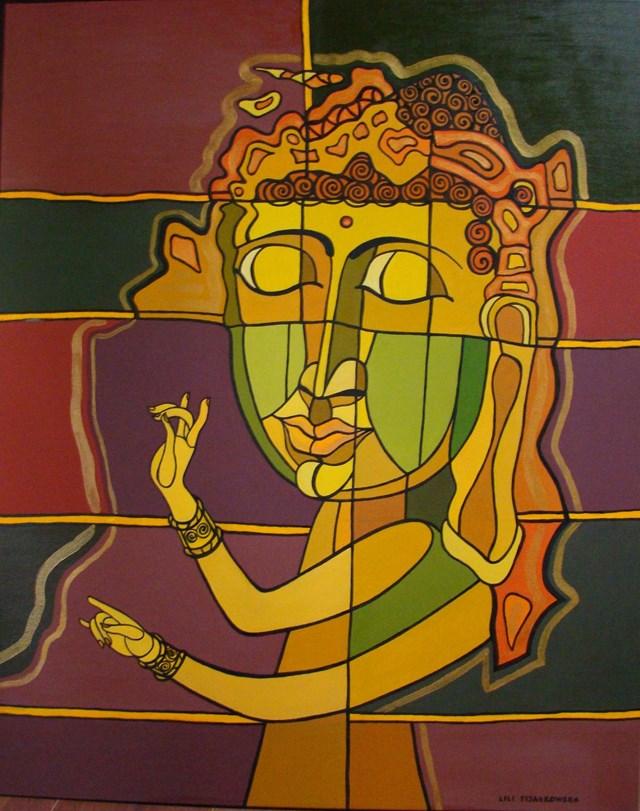 Living room painting by Lili Fijałkowska titled Buddha's dream