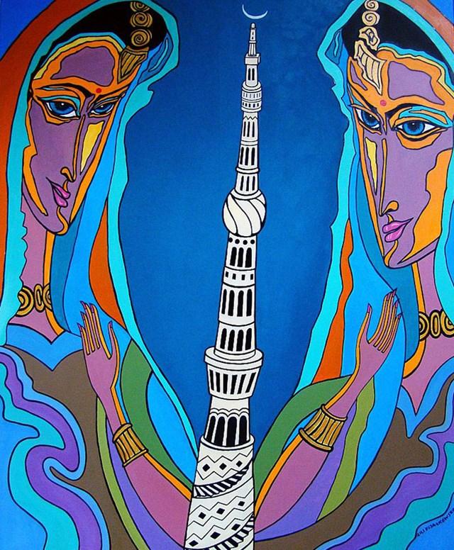 Living room painting by Lili Fijałkowska titled Princess Tower