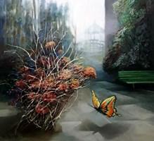 Obraz do salonu artysty Renata Kulig-Radziszewska pod tytułem Gdy ogród śpi - z cyklu : czarowne ogrody