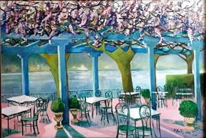 Living room painting by Renata Kulig-Radziszewska titled  Pink life on Lake Como Bellagio