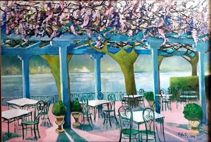 Obraz do salonu artysty Renata Kulig-Radziszewska pod tytułem Życie na różowo nad jeziorem Como- Bellagio