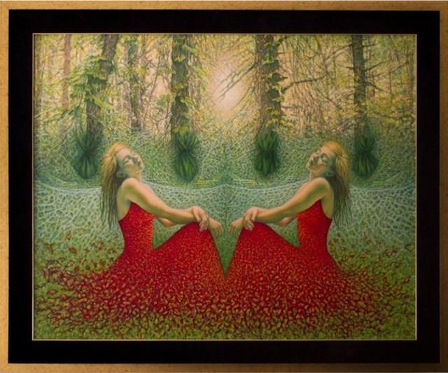 Obraz do salonu artysty Katarzyna Kania pod tytułem Sen o nieśmiertelności - czerwona dama w szmaragdowej krainie