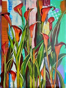 Living room painting by Joanna Szumska titled Calla