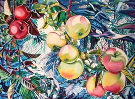 Living room painting by Joanna Szumska titled Apples