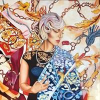 Living room painting by Joanna Szumska titled Black perfum