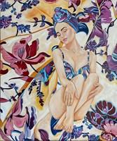 Living room painting by Joanna Szumska titled  Blue dress