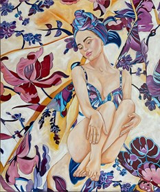 Living room painting by Joanna Szumska titled  Blue dress