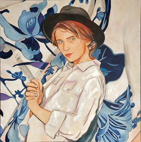 Living room painting by Joanna Szumska titled  White blouse