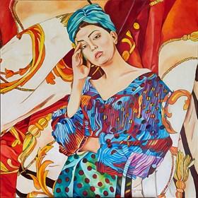 Obraz do salonu artysty Joanna Szumska pod tytułem Letnia sukienka turkusowa