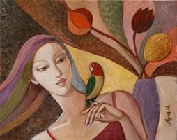 Obraz do salonu artysty Agnieszka Korczak-Ostrowska pod tytułem Dziewczyna z papugą